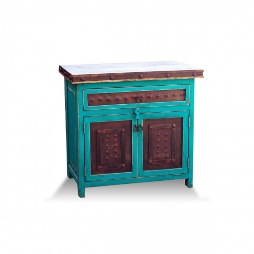 small bathroom vanity in turquoise