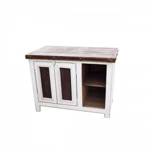 Distressed White Vanity 09872
