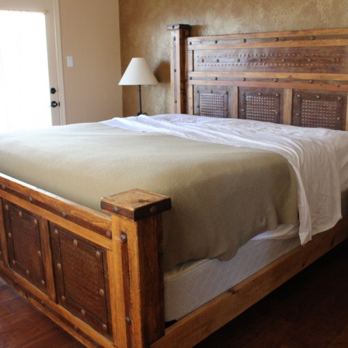 Rustic Metal Paneled Bed