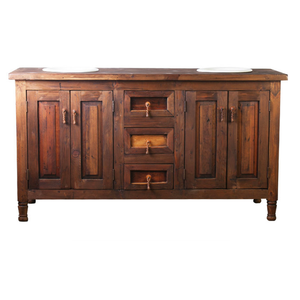 Double sink barnwood vanity made from reclaimed wood for sale Wooden bathroom furniture cabinets