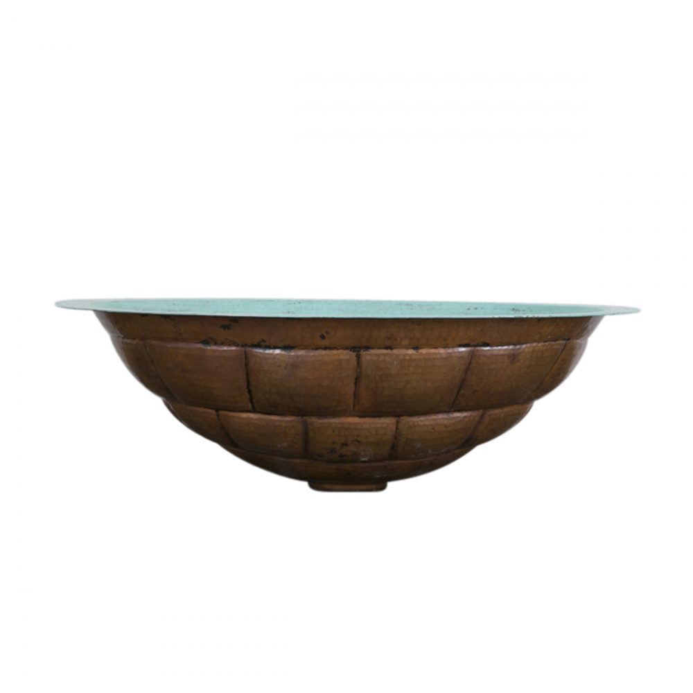 Turquoise Turtle Shell Oval Vessel Copper Sink