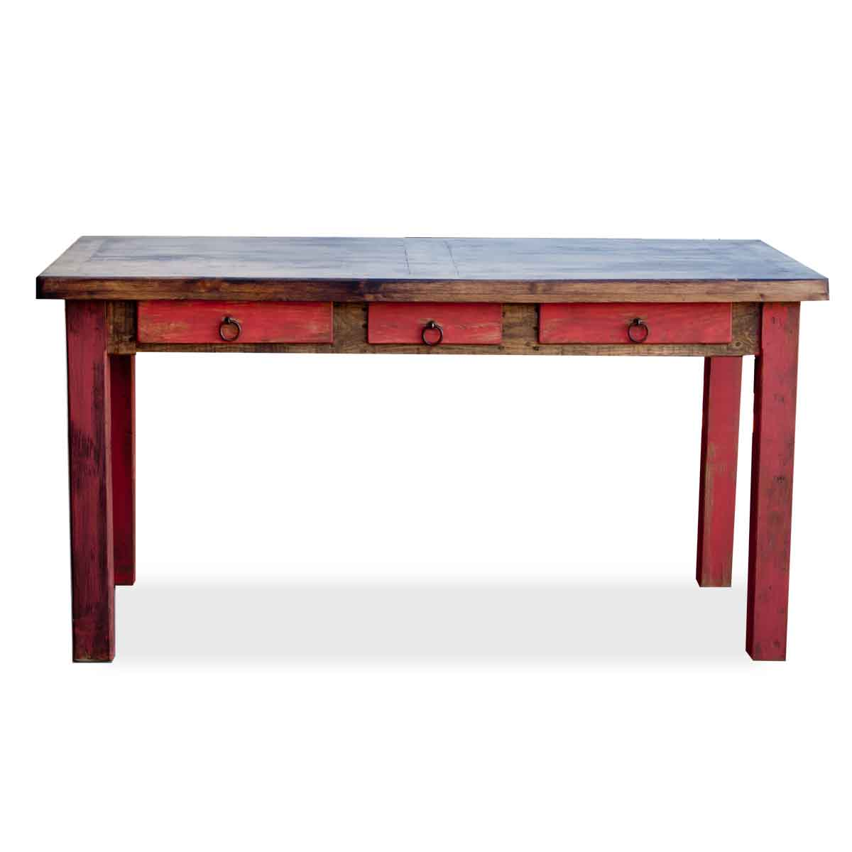 order beautiful red rustic desk with 3 drawers and wooden rails online