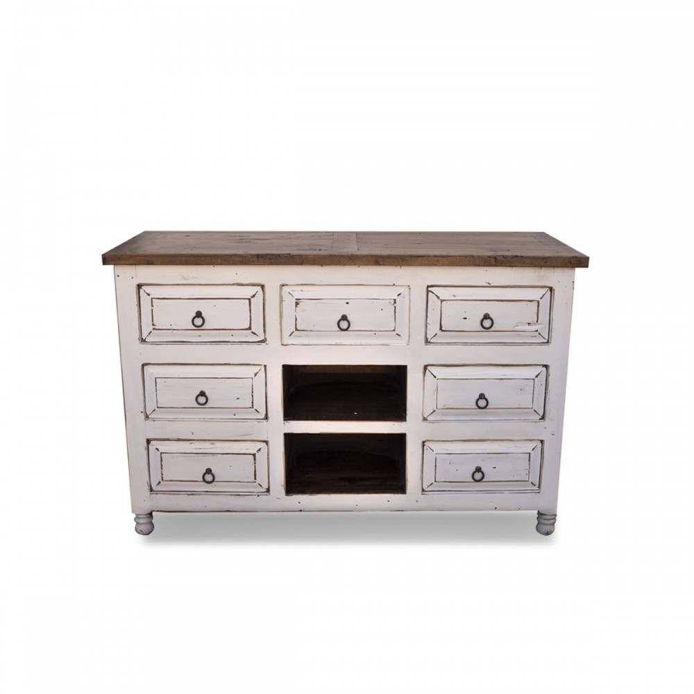 distressed white vanity