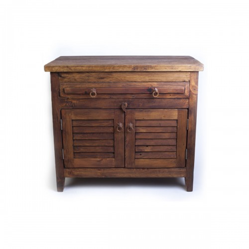 barnwood vanity with shutter doors