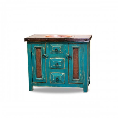 Rustic Vanity Drop in Sink Turquoise 15514