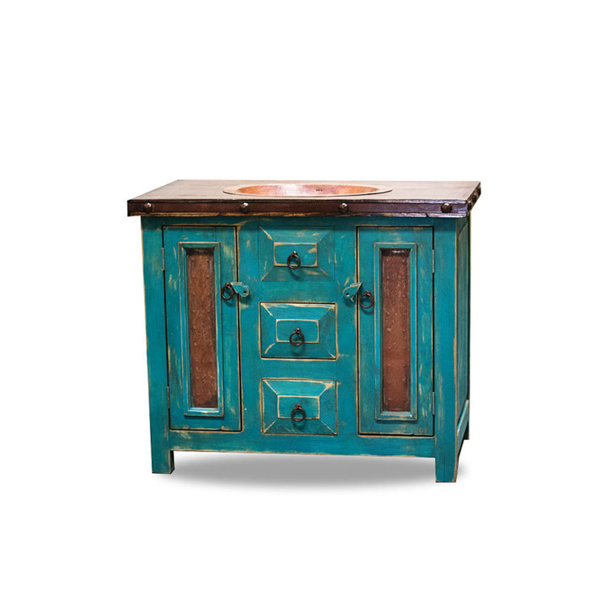 Rustic Vanity Drop in Sink Turquoise 15514Order Custom Bathroom Vanities   Turquoise. Rustic Vanities For Bathrooms. Home Design Ideas