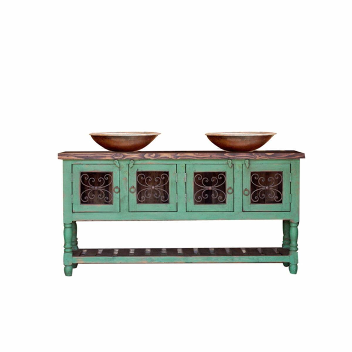 green rustic vanity