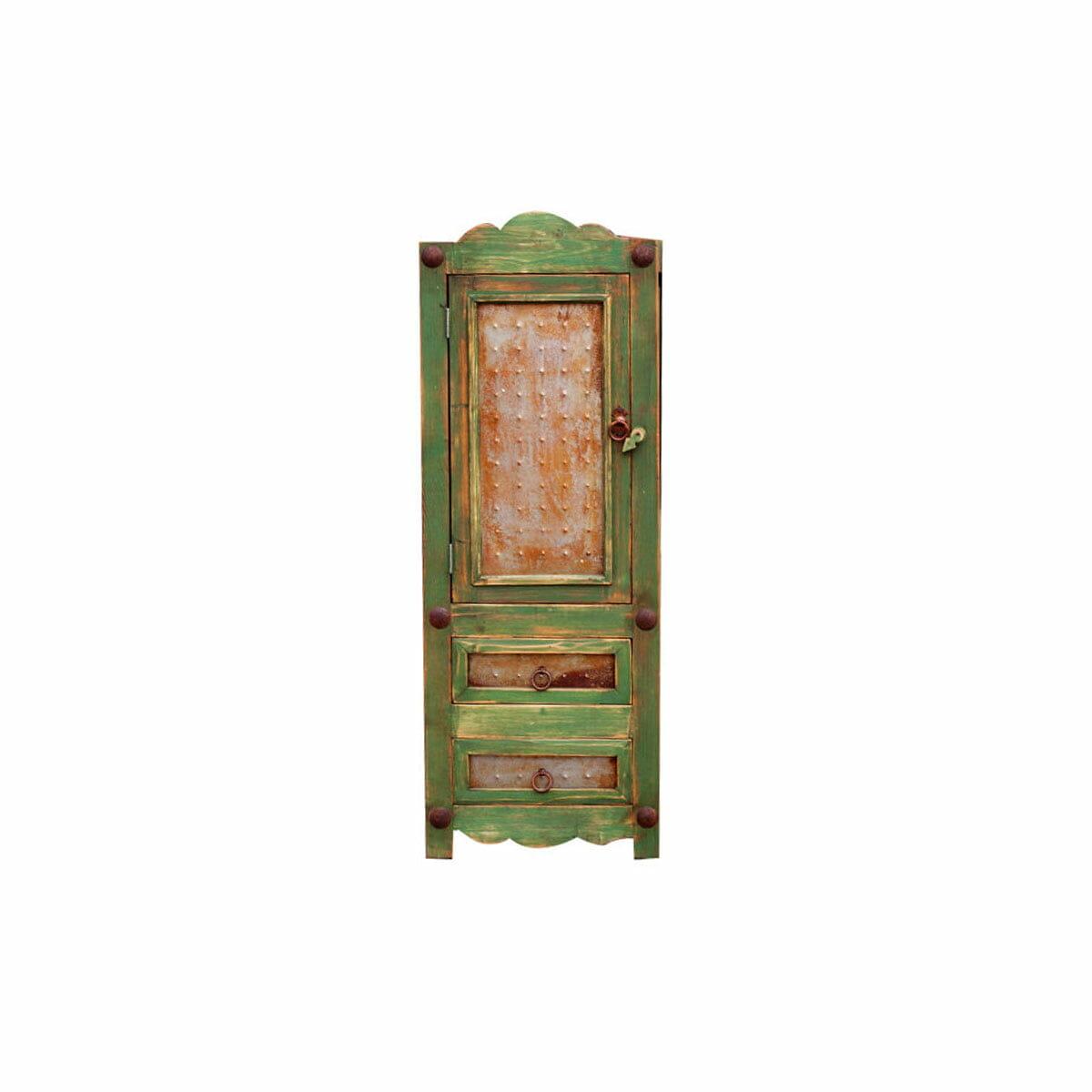 green rustic linen cabinet