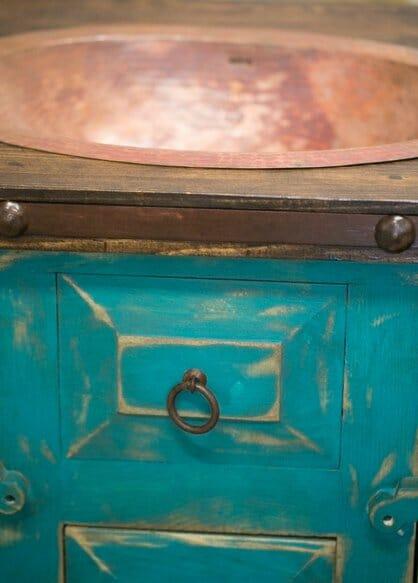 Rustic Vanity Drop in Sink Turquoise 4 15514