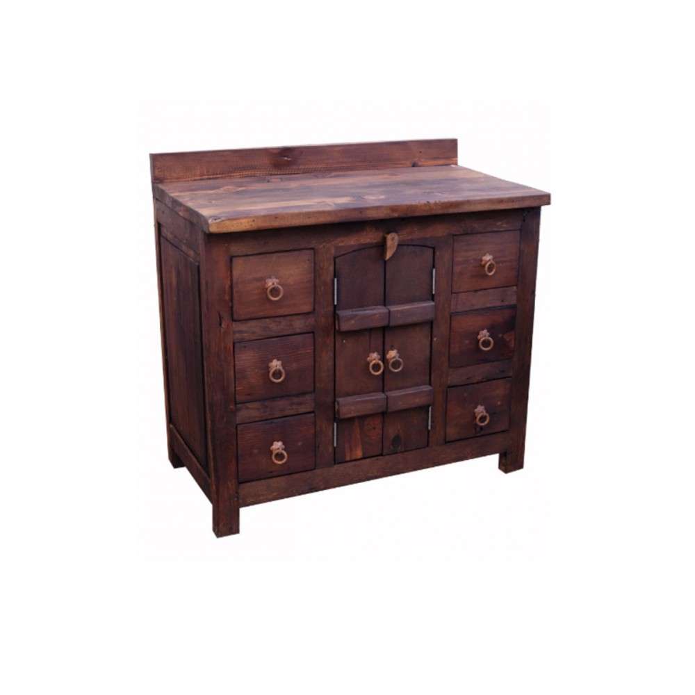 Old World Vanity With 6 Drawers
