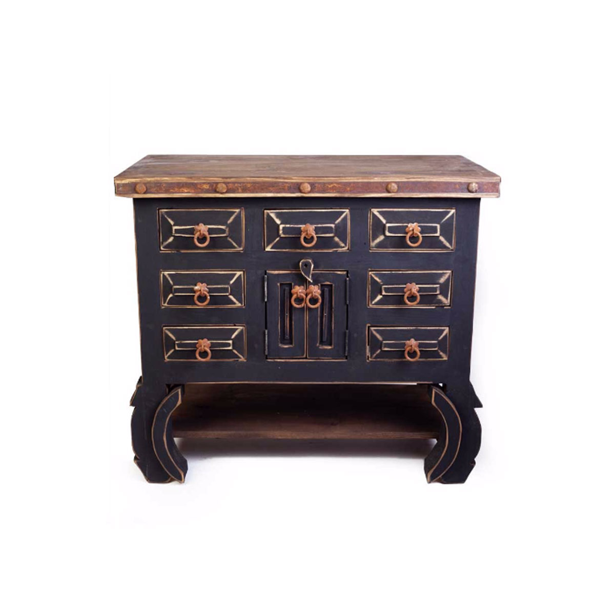 Rustic single sink bathroom vanities - 7 Drawer Black Rustic Vanity