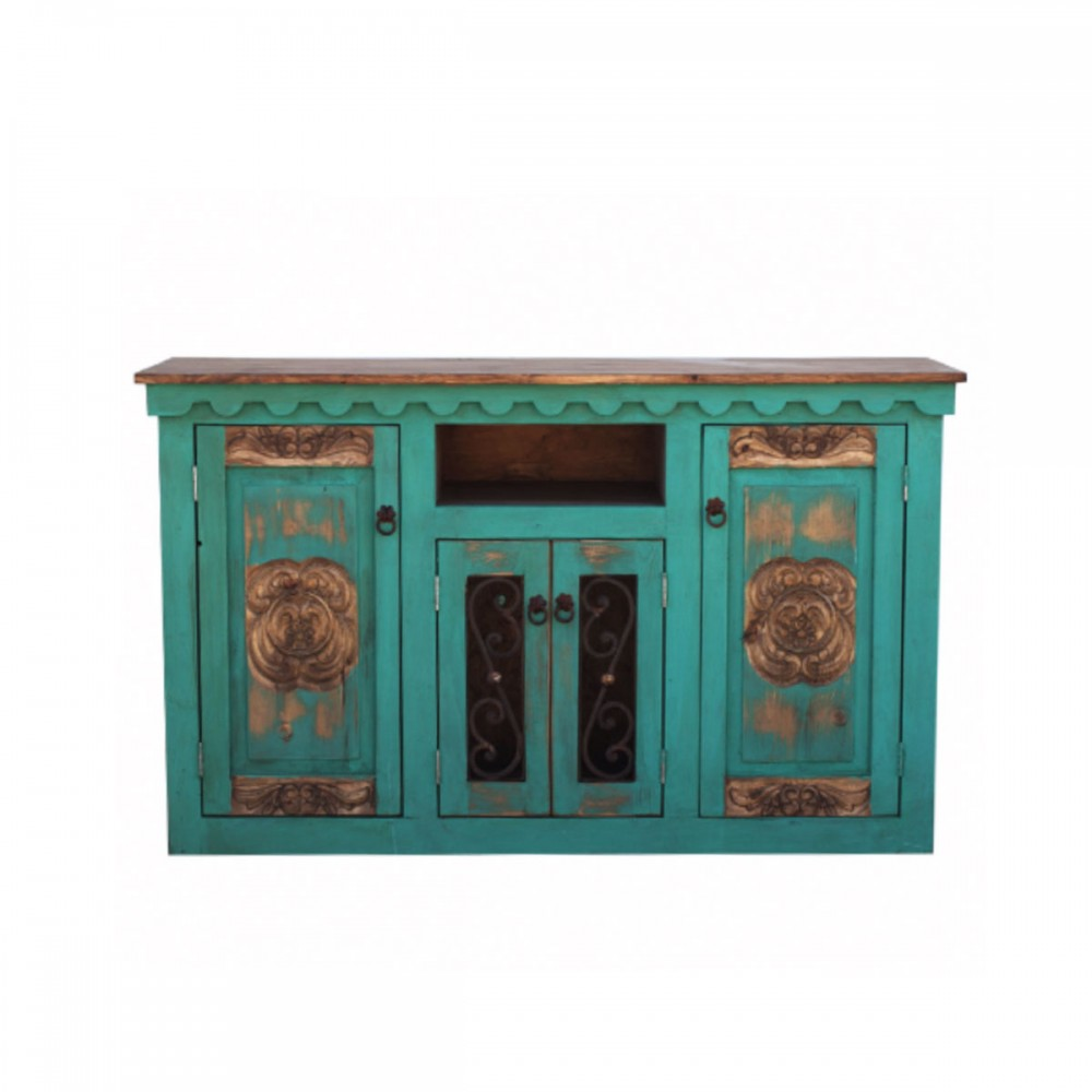 Hand Carved Rustic Turquoise Vanity