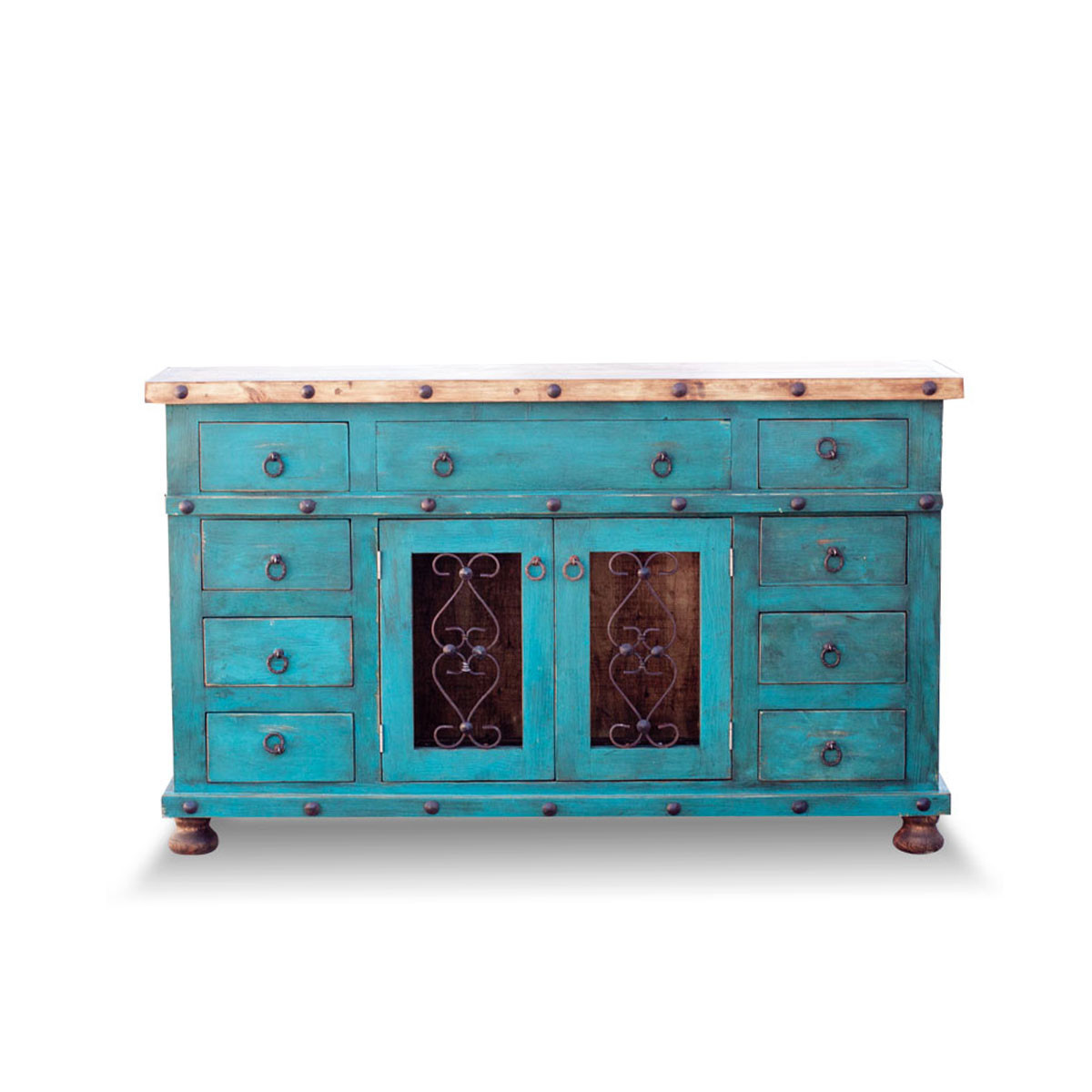 Order Hand Crafted Turquoise Rustic Vanity with Metal Banding Online