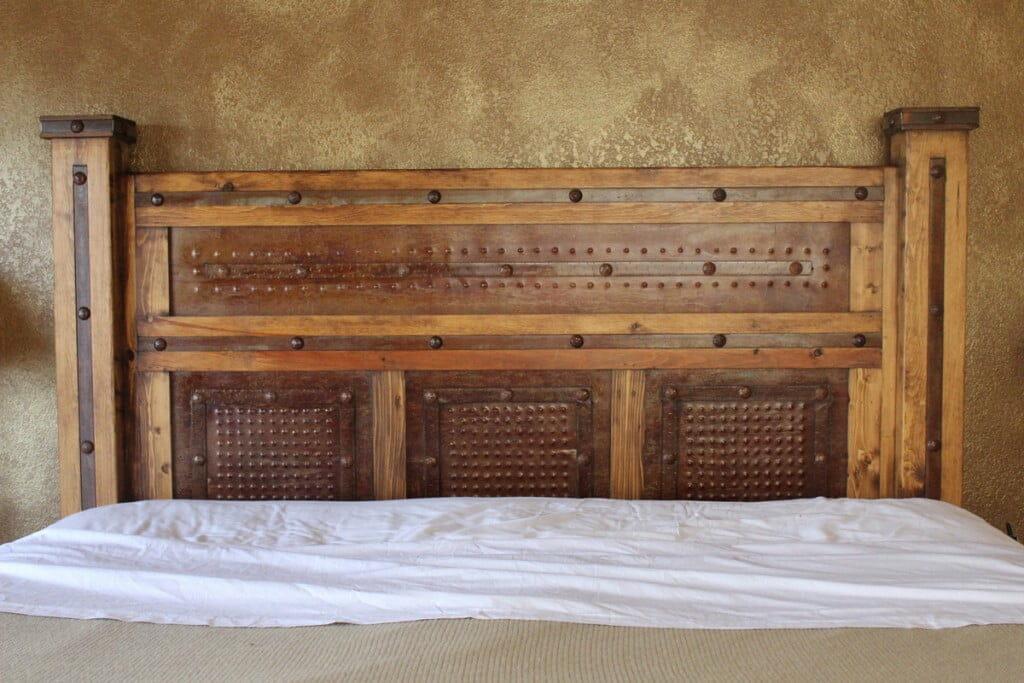 Rustic Metal Paneled Bed