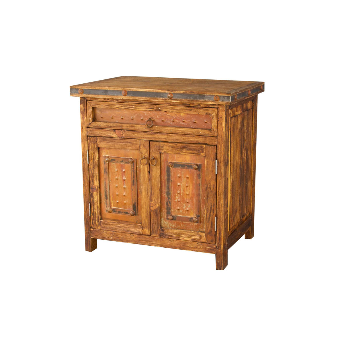 Gorgeous Small Vanity With Rustic Metal Panels For Sale