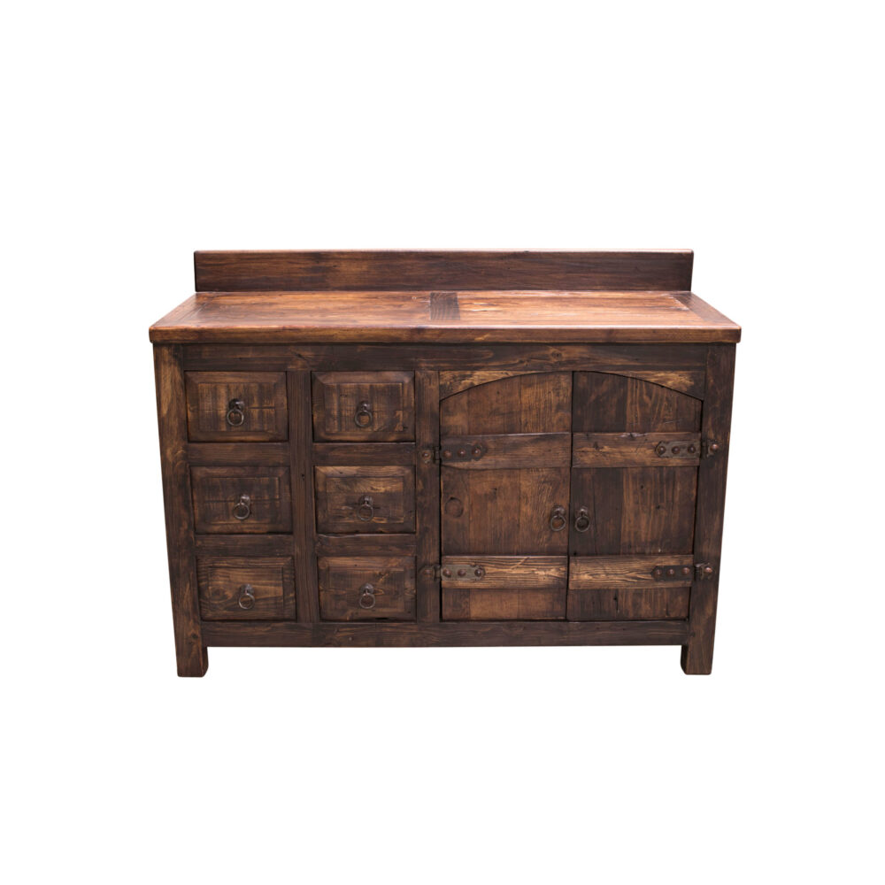 single sink vanity console rustic