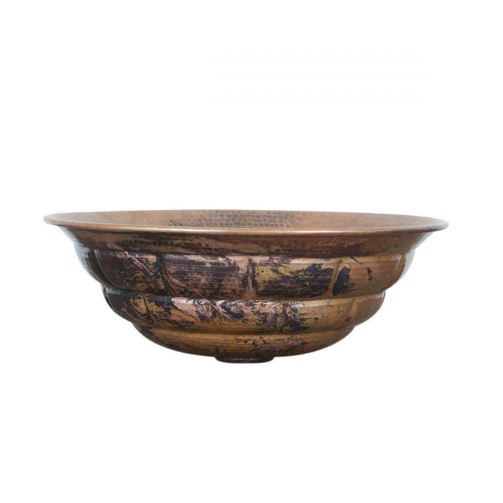 Turtle Shell Round Vessel Copper Sink For Sale