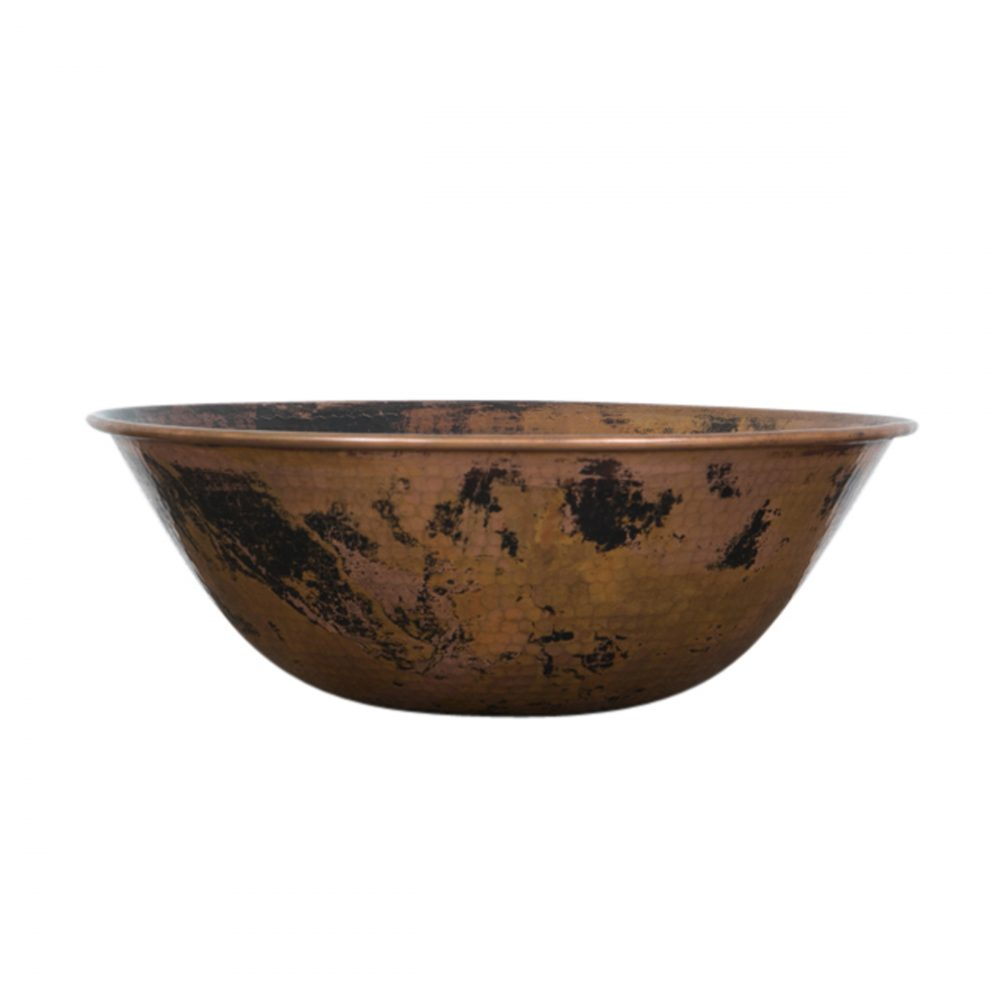round copper vessel sink