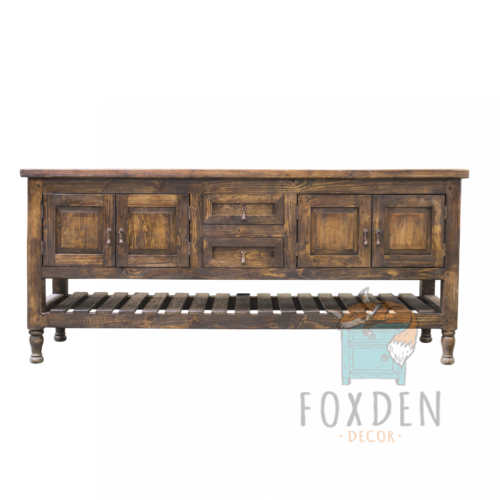 bronsone double console reclaimed wood
