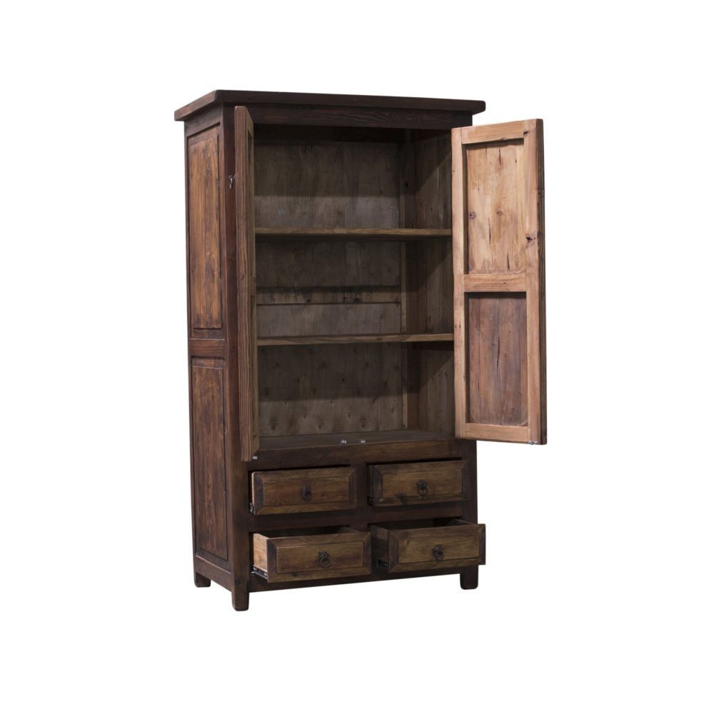 Chandler rustic linen cabinet inside