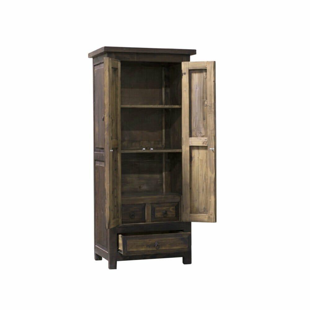 reclaimed linen cabinet open