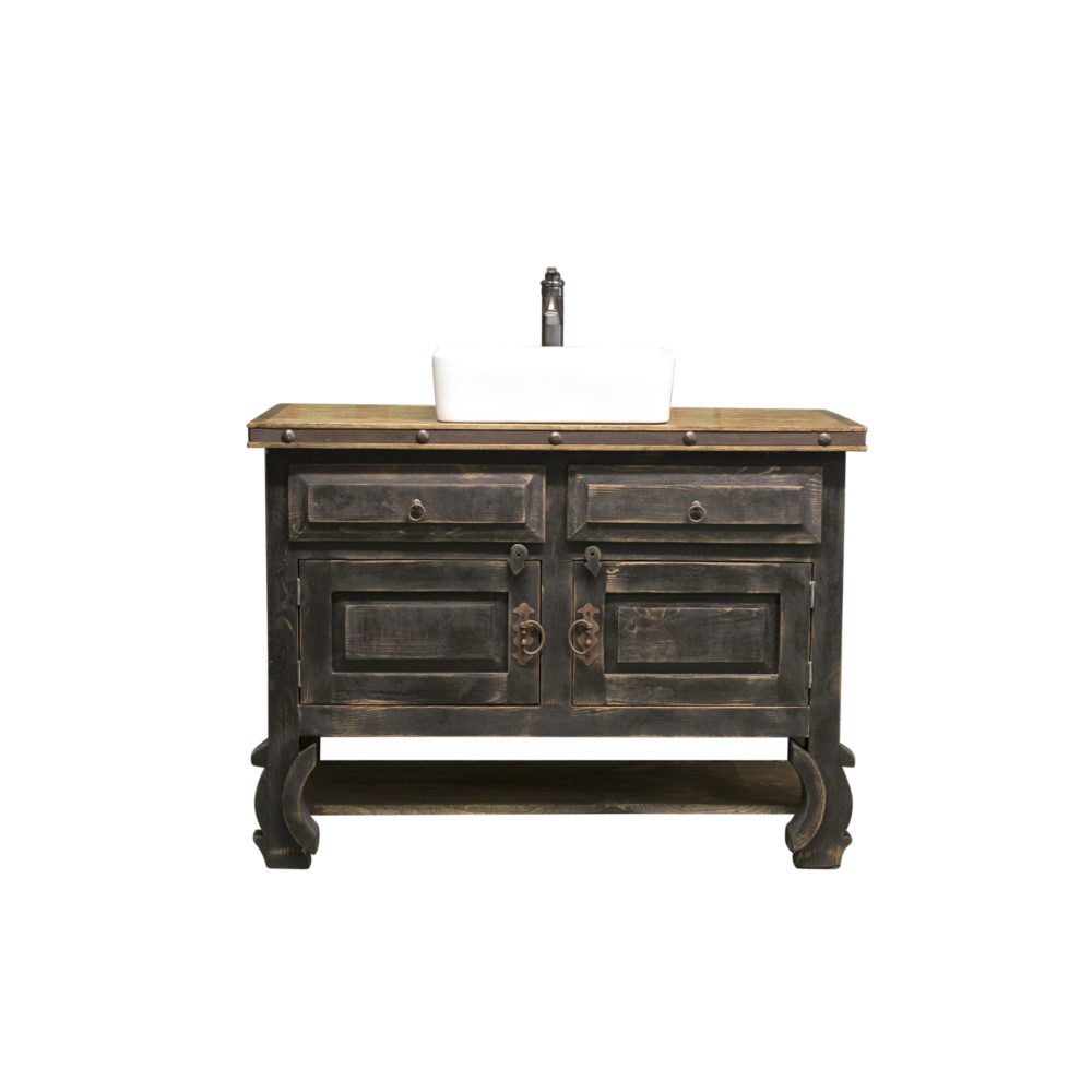 black distressed vanity