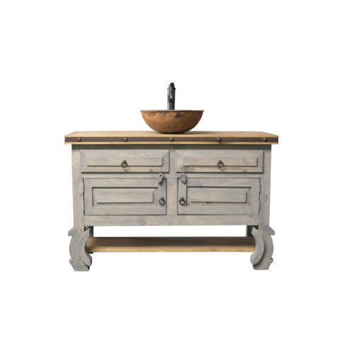 gray farmhouse vanity