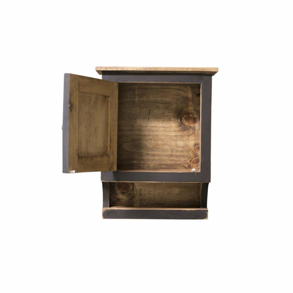 black rustc medicine cabinet interior