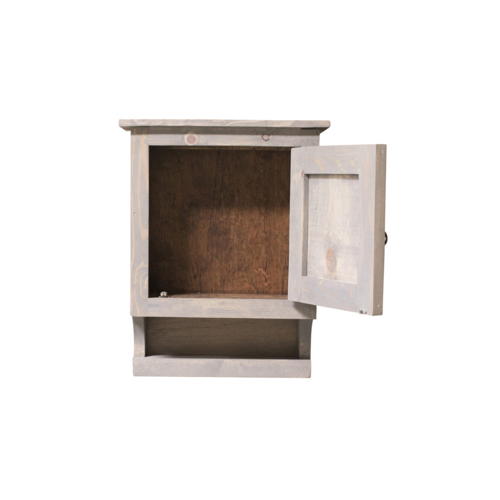 gray medicine cabinet inside