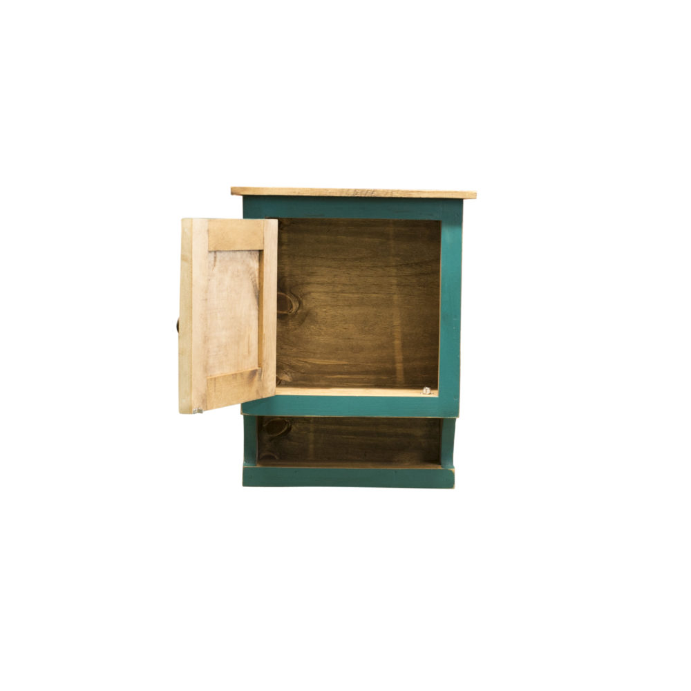 turquoise medicine cabinet inside