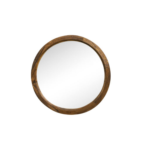 reclaimed round wood mirror