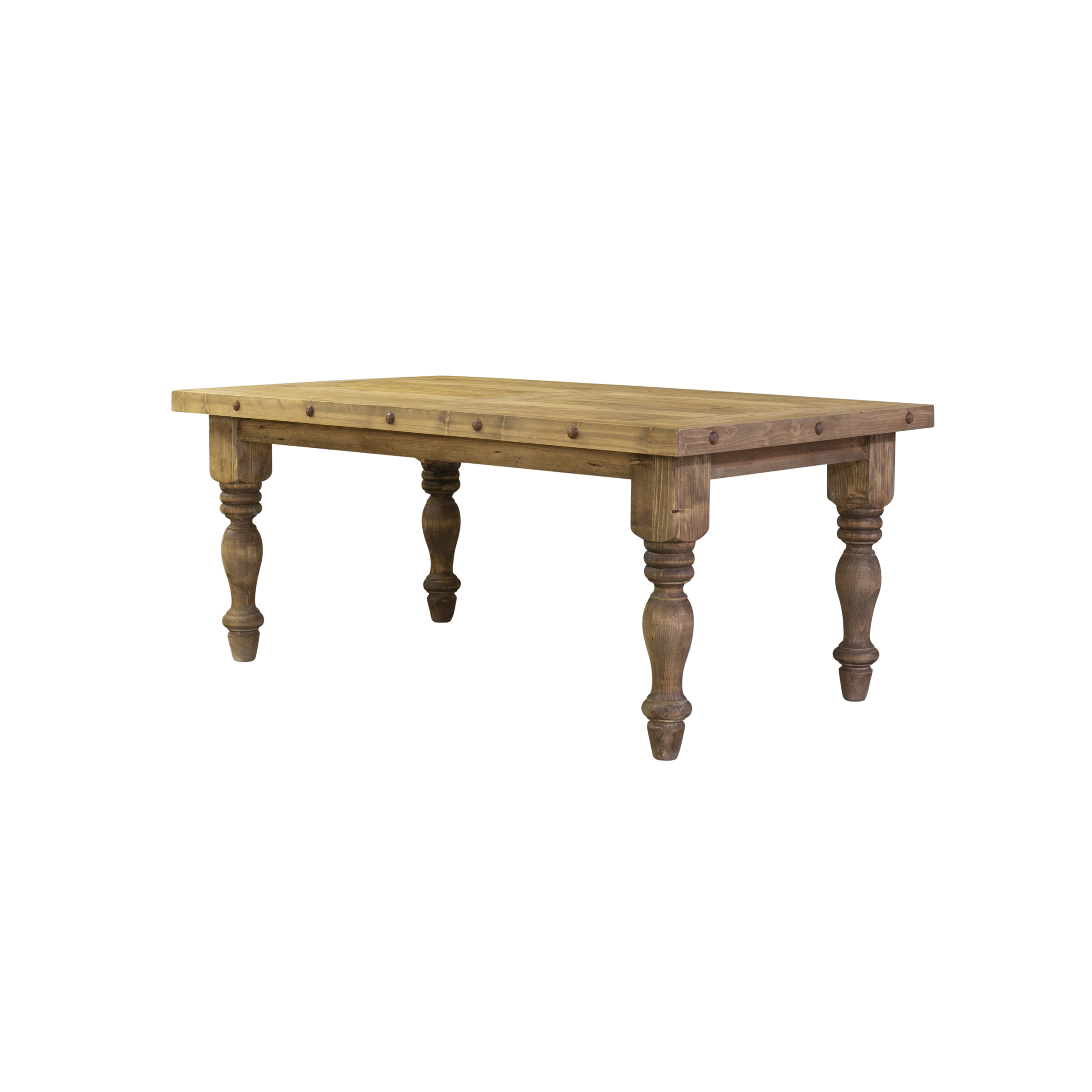 Magnolia rustic dining table side angle